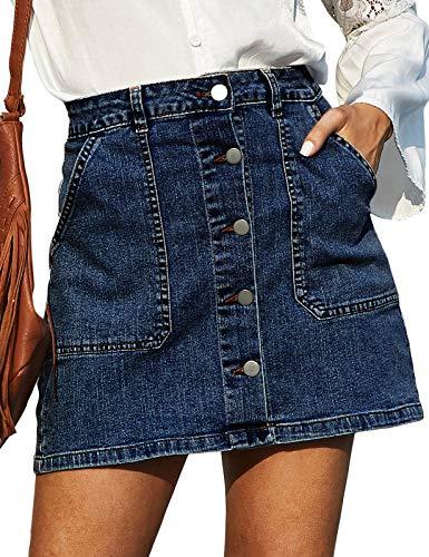 GRACE KARIN Women's Casual Button Down Denim Skirt High Waist Bodycon Pockets Jean Short Skirt Dark Blue XL