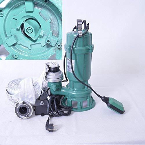 """!! Profi !! Fäkalienpumpe Tauchpumpe Schmutzwasserpumpe mit Schneidwerk 1100 Watt Anschluß Druckseite 2""""=5,02cm, Spannung 230V/50Hz, Kabellänge ca. 9,5 m. Fördermenge: 300 L/min = 18000 L/h."""