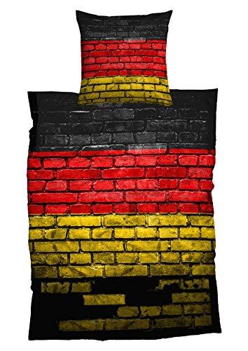 Casatex Bettwäsche German Flag Renforcè, 135x200 cm + 80x80 cm, 2er Set, schwarz rot Gold