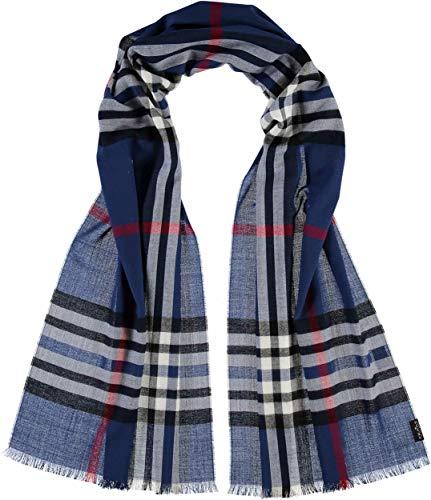 FRAAS Karierter Schal für Damen & Herren - XXL-Schal Made in Germany - Moderner Decken-Schal - Plaid mit Karo-Muster - Perfekt für Frühling und Sommer Königsblau