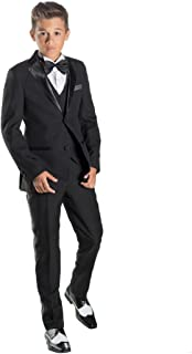 Paisley of London, James Black Tuxedo Suit Set, Boys Slim Fit Formal Occasion Wear, X-Large - 18