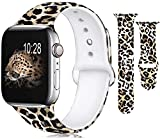 Fashion Band Compatible with iWatch 40MM 44MM 38MM 42MM, Pattern Printed Soft Silicone Band Wristbands Replacement for iWatch SE Series 6/5/4/3/2/1 (Leopard print, 42/44MM)