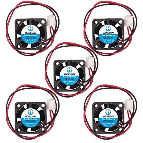 WINSINN 25mm Lüfter 5V Doppelkugellager bürstenlos 2510 25x10mm für Kühlung DIY Mini Kühl PCB/Notebook/Grafikkarte - High Speed (5 Stück)