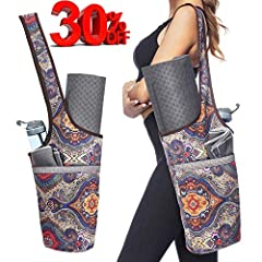 Fit for Most Mat Sizes: Crafted specifically to carry yoga mats in an Easy, Gender Neutral, Shoulder Strap Tote Bag Form. No more hassle packing and carrying your yoga gear to and from the studio. Just Slide On Your Shoulder And Go! Dimensions are 35...