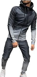 Maweisong Men Tracksuit Gradient Sweatshirt Sports Suits Gym Fitness Zipper Blouses