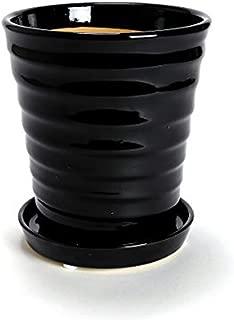 鉢 三河焼 KANEYOSHI 【日本製/安心の国産品質】 陶器 植木鉢 三河焼 フラワーロード ブラック 5号皿付
