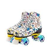 XUDREZ Roller Skates for Women Men Microfiber Leather Fashion Roller Skates Shiny Four Wheels Roller Skates High-top Roller Skates (White Flash Wheels,38=US: 6)