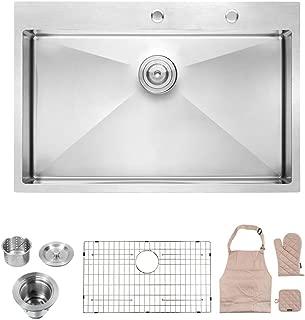 Lordear LT3322R1 33 x 22x 10 Inch Drop-in Topmount 16 Gauge R10 Tight Radius Stainless Steel Kitchen Sink Single Bowl