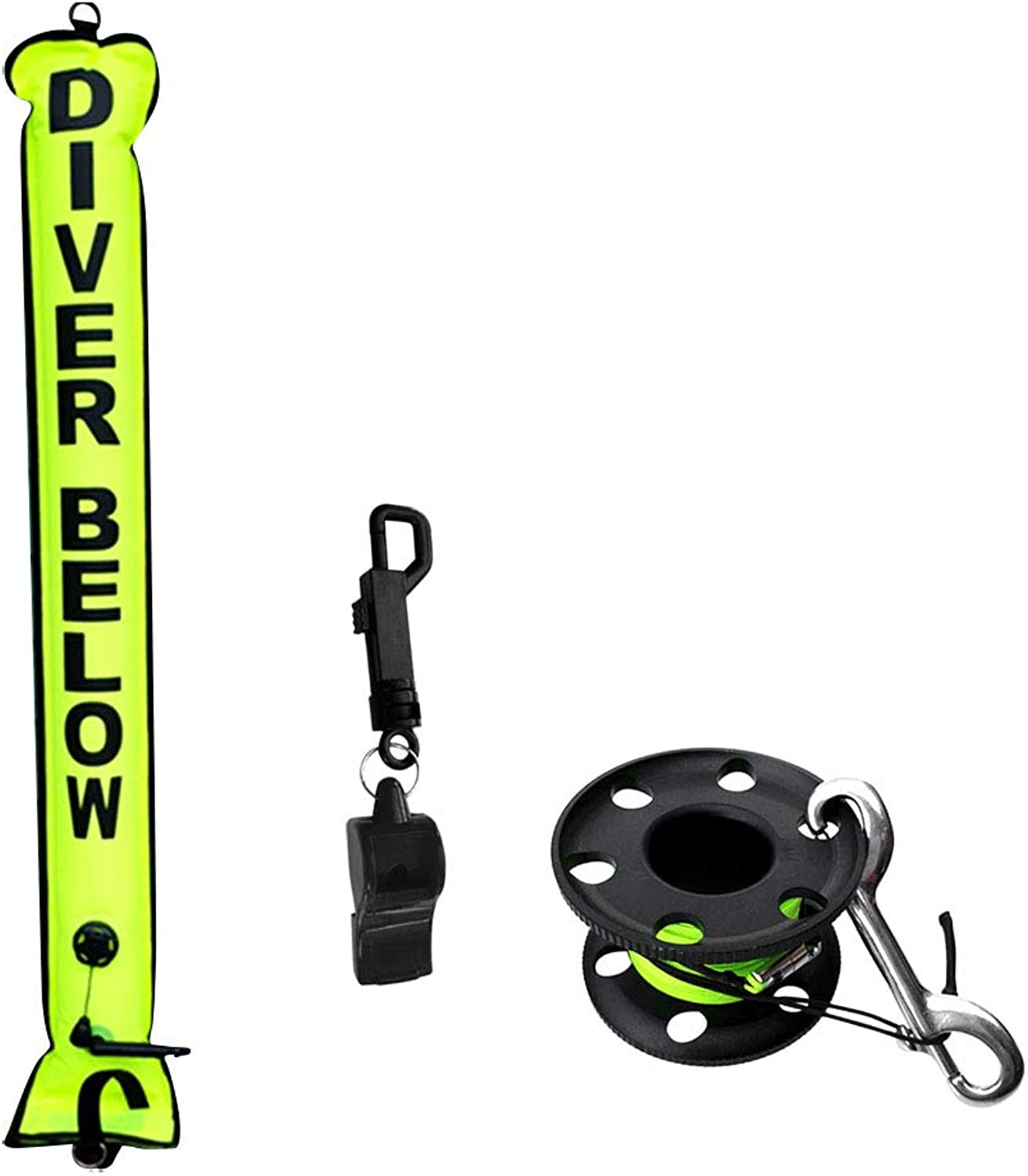 DYNWAVE Dive Safety Equipment, 4ft SMB Signal Tube Inflatable Float + Finger Reel Line Clip + Whistle for Technical Scuba Diving, High Visibility