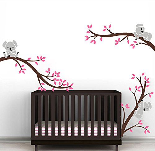 Sayala Koala Baum Wandtattoo-3 Lovely Koala on The Tree Wandaufkleber Wandsticker- Babyzimmer Tierwelt Baby Wandaufkleber Kleinkind Sticker Mädchenzimmer Wanddekor (Rosa)