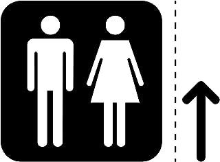 男女トイレ案内マーク(矢印付き)のカッティングステッカー・シール 光沢タイプ・防水・耐水・屋外耐候3~4年【クリックポストにて発送】 (黒, 150)
