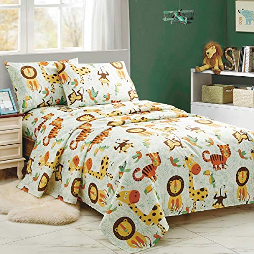 WPM Kids Collection Bedding 3 Piece White Green Safari Forest Jungle Twin Size Sheet Set with Flat Fitted Sheets Pillow sham Fun Tiger Monkey Theme Design (Safari Life, Twin Sheet Set)