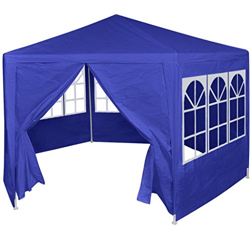 Festnight Gazebo Marquee Party Tent Canopy with 6 Side Walls Blue 2x2 m