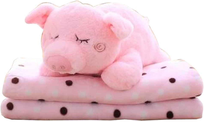 Cute Cartoon 2 in 1 Blanket Cushion Pillow, Perfect Winter [B]