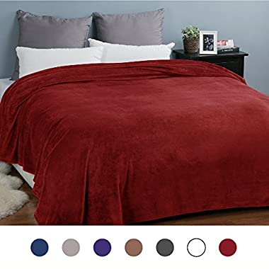 Bedsure Flannel Fleece Luxury Blanket Burgundy King Size Lightweight Cozy Plush Microfiber Solid Blanket
