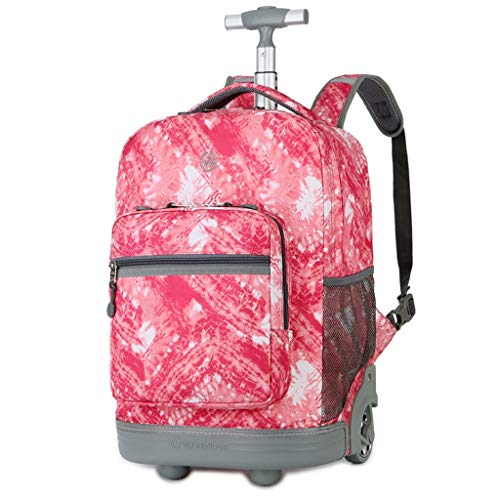 18inch Boarding Smart Backpack Business Travel Bag, Trolley Backpack, Men and Women Junior High School Trolley Bag (Color : Pink, Size : 18inch)