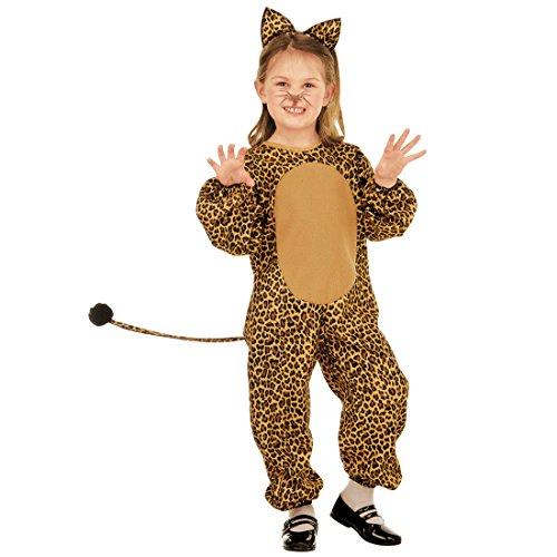 Amakando Katzenkostüm - 104, 2 - 3 Jahre - Leoparden Kinderkostüm Leopardenkostüm Mädchen Tierkostüm Katze Overall Wildkatze Jumpsuit leoprint Kinder Kostüm Leopard