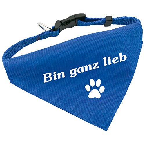 Hunde-Halsband mit Dreiecks-Tuch BIN GANZ LIEB, längenverstellbar von 32 - 55 cm, aus Polyester, in blau