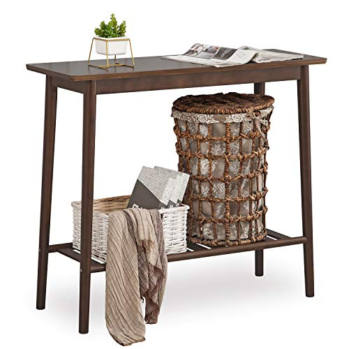 Console Table Nnewvante Sofa Table Bamboo Desk with Open Shelf for Entryway Hallway Living Room, Walnut Color