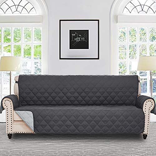 RHF Diamond Cover for Extra-Wide Couch, Sofa Cover, Oversize Sofa Slipcover,Extra-Wide Couch Cover for Dogs, Couch Slipcover, Double Diamond,Machine Washable(Sofa-Extra Wide:Charcoal/Grey)