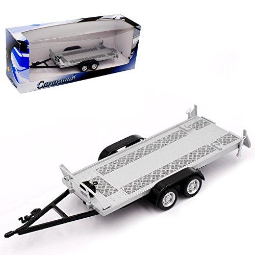 Collection 711 Car_Doppel Anhänger für Autotransport mit Auffahrrampen und Doppelbereifung 1/43 Cararama Modell Auto, Silber, Ohne Wunschkennzeichen