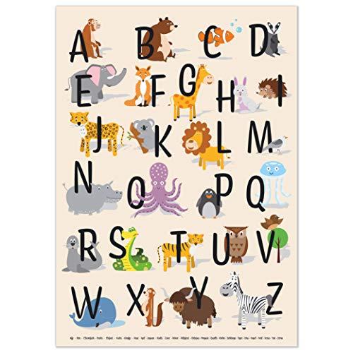 kizibi ABC Poster DIN A2 für Kinderzimmer, Alphabet Poster für Mädchen und Jungen, Buchstaben zum Lernen, Tier Lernposter mit Buchstaben auf deutsch | für den Kindergarten, Vorschule oder Grundschule