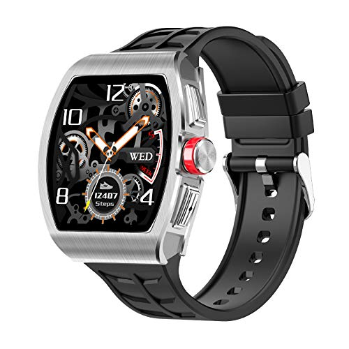 LTLGHY Fitness Tracker, 1.3' Touch Screen Smart Watch with Blood Pressure Heart Rate Monitor Step Counter Stopwatch Remote Music IP68 Waterproof Activity Trackers for Men Women Kids,Silver