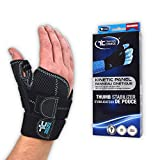 Trainers Choice Thumb Stabilizer - Maximum Thumb Support for Men & Women - Assists Sprains Strains Tendonitis Skiers Thumb DeQuervain's Syndrome. One Size Fits Most