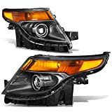 Pair of Black Housing Amber Corner/Signal Projector Headlights Lamps Replacement for Ford Explorer 5th Gen U502 11-15