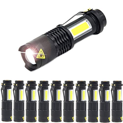 MODOAO COB LED Flashlights,Ultra Bright 4 Modes Zoomable Mini Handheld Torch,Waterproof Pocket Lights Adjustable Focus Handheld Flashlight (10 Pack)
