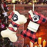 LYLYFAN Medias de Navidad para Perro Mascota 2 Piezas Calcetín de Perro con Forma de Hueso Grande para Decoraciones navideñas para Perros