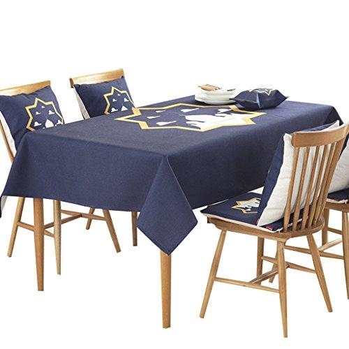 QINGTAOSHOP Motif géométrique Bleu Coton épais Linge de Table Tissu de Table de Style Ethnique (Size : 140 * 140cm)