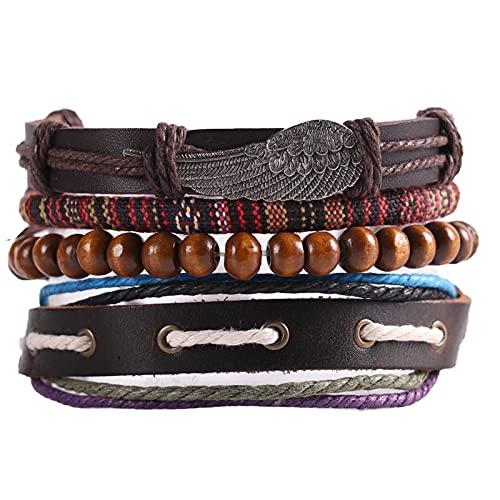 Overvloedi 1pcs Braided Winding Leather Bracelet Vintage Handmade Charm Wooden Bead Ethnic Tribal Wristband 14