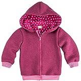 Lilakind Mädchen Jacke Wolljacke Kapuzenjacke Walkjacke Reißverschluss Pink Bündchen gestreift