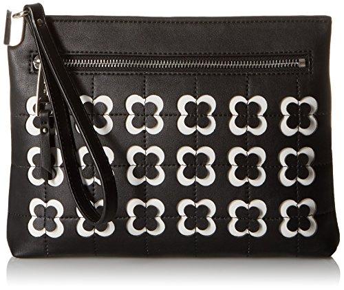 Nine West Damen Handgelenkriemen, Handtasche, Schwarz/Schwarz/Weiß, Einheitsgröße