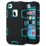 ULAK Cover per iPhone 4S, iPhone 4 Custodia Ibrida a Protezione Integrale con Parte Esterna in 3 Strati...