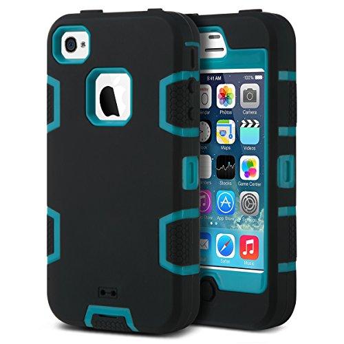 ULAK iPhone 4/4s Hülle, 3 in 1 Hybrid Stoßfest Handyhülle Hart PC + Weiche Silikon Schutzhülle Tasche Case Cover für Apple iPhone 4 / iPhone 4s - Schwarz Blau