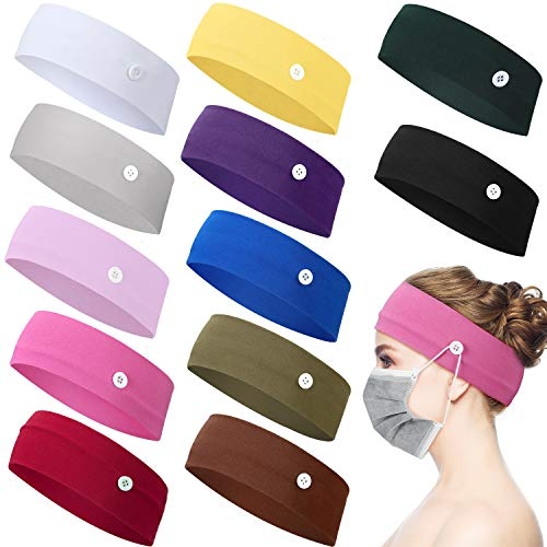 12 Pieces Button Headband Holder Non Slip Nurse Headbands Multicolored Ear Protection Holder for Men Women Ear Protection (Classic Solid Colors, L)