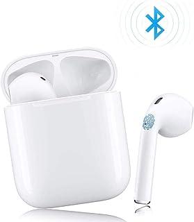 Auriculares inalambricos,Auricular Bluetooth,Pueden emparejar automáticamente,Audífonos estéreo 3D,Charla binaural y Estuche de Carga portátil,Tapones auditivos Deportivos IPX5 Impermeables. (Blanco)
