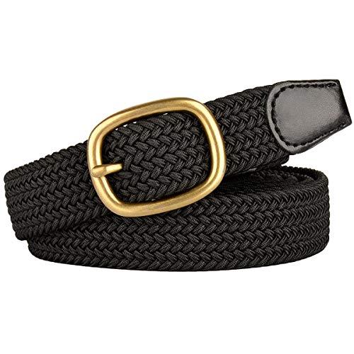 Drizzte 47inch Plus Size Belts Womens Stretch Belt Black Elastic Belts for Women Ladies