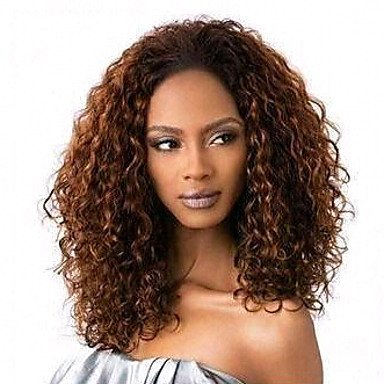 JIAYY Perruque – Pour femme – Cheveux naturels – Brun – Bouclé, 40,6 cm - #4