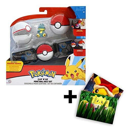 Lively Moments Gürtel Pokemon für Kinder mit 2 Pokebällen & Figur Mampfaxo / Kindergürtel für Pokebälle / Spielzeug / Clip n Go Gürtel + Exklusive GRATIS Grußkarte