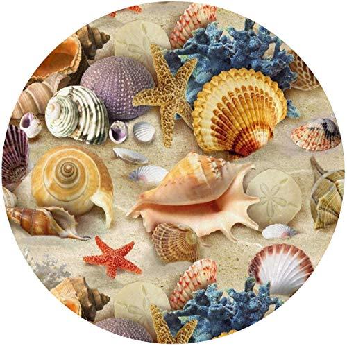 N/A Fashion stoel vloertapijt, zachte flanel cirkel/ronde deurmat, keuken kantoor zeester Conch Seashell Decor & bescherming tapijt, water absorberen & duurzaam bad tapijten