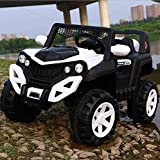SRECAP Electric Ride on Jeep for Kids with 12V Battery, Swing Option, Music System, Spring Suspension and Remote Control-Black