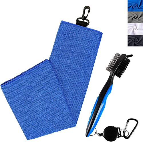 Golf Towels for Golf Bags with Clip and Brush Waffle 24'X16' Value Set,...