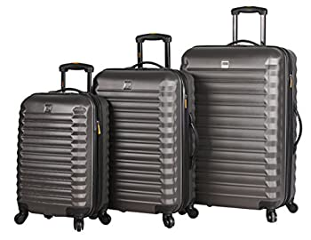 Lucas Treadlight 3 Piece Luggage - Lightweight Scratch Resistant  ABS + PC  Hard Case Suitcase - Set Includes 20 Inch Carry on 24 Inch and 28 Inch Checked Bag with 4-Rolling Spinner Wheels  Charcoal