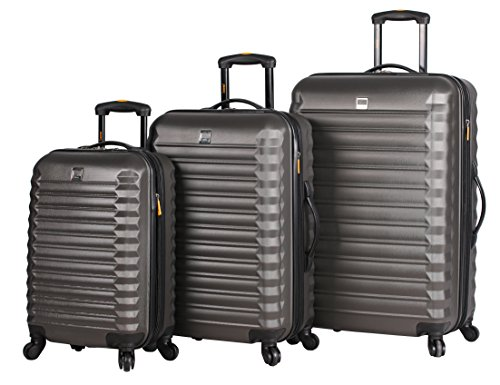 Lucas Treadlight 3 Piece Luggage - Lightweight Scratch Resistant (ABS + PC) Hard Case Suitcase - Set Includes 20 Inch Carry on, 24 Inch and 28 Inch Checked Bag with 4-Rolling Spinner Wheels (Charcoal)