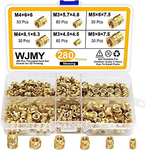 WJMY Gewindeeinsatz Einpressmutter 280Stk 3D Drucker Rändelmutter M3 M4 M5 Einbettung Muttern für Kunststoffteiledurch Wärme oder Ultraschall im 3D-Druckteile