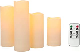 Outdoor Flameless Candles with Remote - 2 Inch Diameter, Battery Operated, Ivory Resin, Flickering Warm White LED Light, Waterproof, 4 & 8 Hour Timer Feature - Set of 4