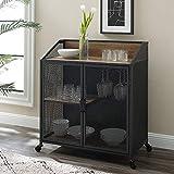 Walker Edison Malcomb Urban Industrial Metal Mesh Double Door Rolling Bar Cabinet, 33 Inch, Reclaimed Barnwood